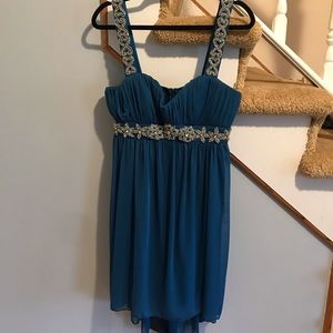 Blue with silver detail dress